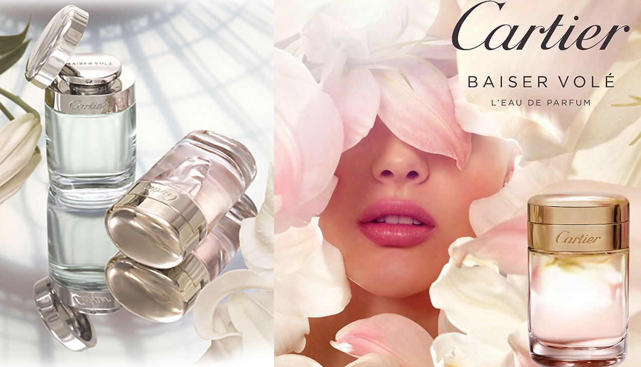 Cartier Baiser Volé; intensief floraal, fris en poederachtig.