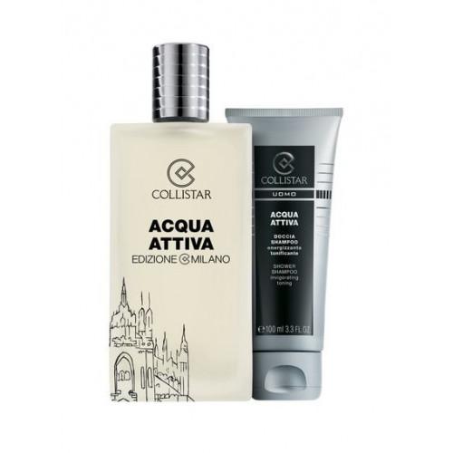 Collistar Acqua Attiva Set 50ml Eau de Toilette Spray + Acqua Attiva 100ml Showergel + Tas