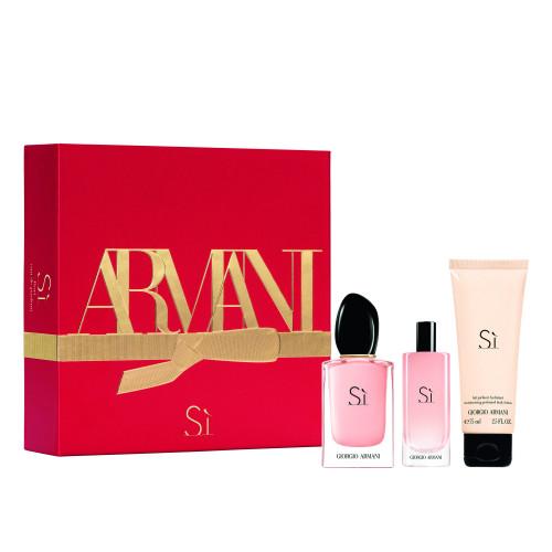 Giorgio Armani Si Fiori Set 50ml eau de parfum spray + 75ml Bodylotion + 15ml edp miniatuur