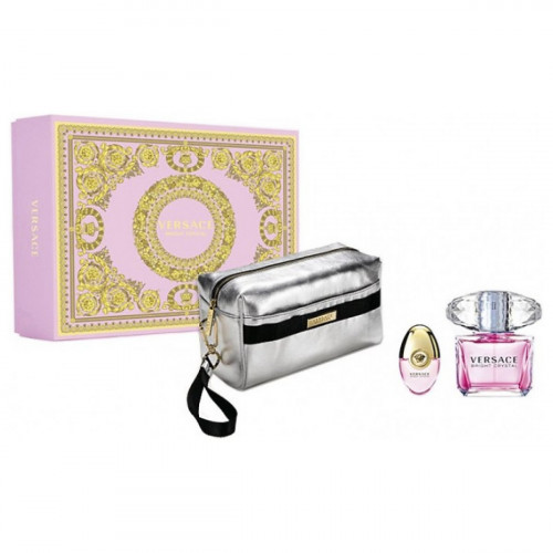 Versace Bright Crystal Set 90ml eau de toilette spray + 10ml edt Miniatuur + Zilverkeurige Toilettas