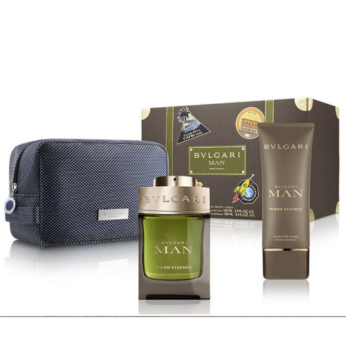 Bvlgari Man Wood Essence set 100ml eau de parfum spray +100ml aftershave balm + tas