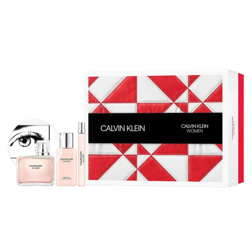 Calvin Klein Women Set 100ml eau de parfum spray + 100ml Bodylotion + 10ml edp Tasspray