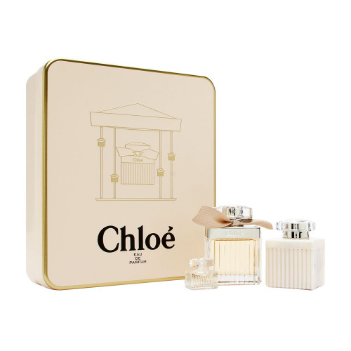 Chloe Set 75ml eau de parfum spray + 100ml Bodylotion + 5ml eau de parfum Miniatuur