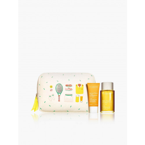 Clarins Tonic Sport Session Set 100ml Huile Tonic + 30ml tonic bath & shower concentrate + tas