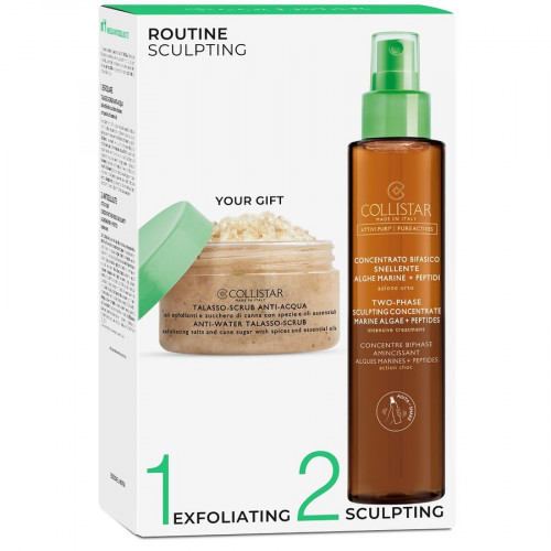 Collistar Routine Sculpting set wo-Phase Sculpting Concentrate Marine Algae + Peptides Bodyspray + Scrub