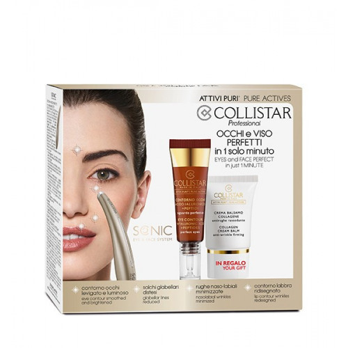Collistar Sonic Eye Device Kit + Eye Contour Hyaluronic Acid 15ml + Minisize Collagen Cream Balm 15ml