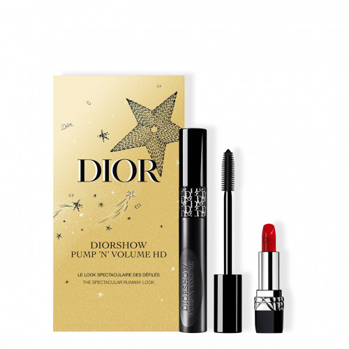 Dior Holiday Couture Collection set Diorshow Pump 'N' Volume HD Mascara  090 Black Plump 6ml + Mini Rouge Dior 1,5 gr Lipstick