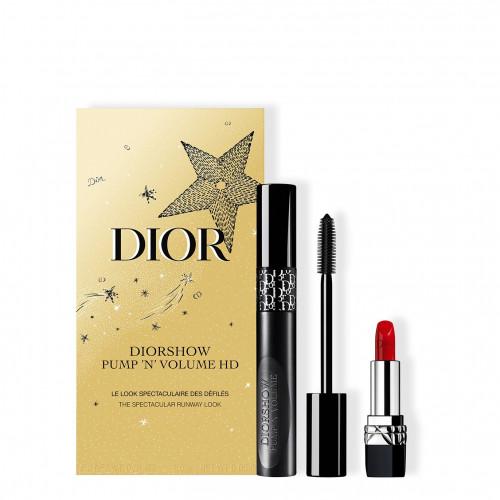 Dior Holiday Couture Collection set Diorshow Pump 'N' Volume HD Mascara  090 Black Plump 6ml + Mini Rouge Dior 1,5 gr Lipstick