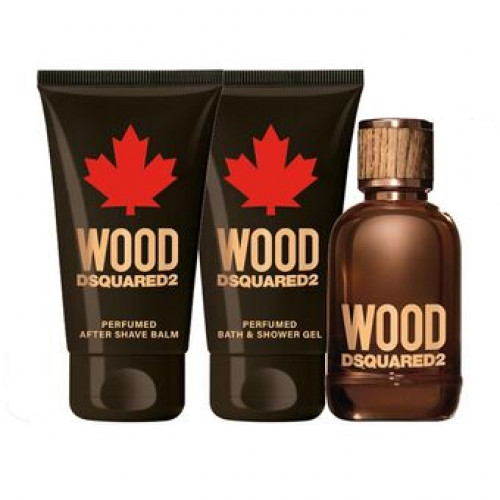 Dsquared² Wood pour Homme Set 50ml Eau de Toilette Spray + 50ml Showergel + 50ml Aftershave Balsem