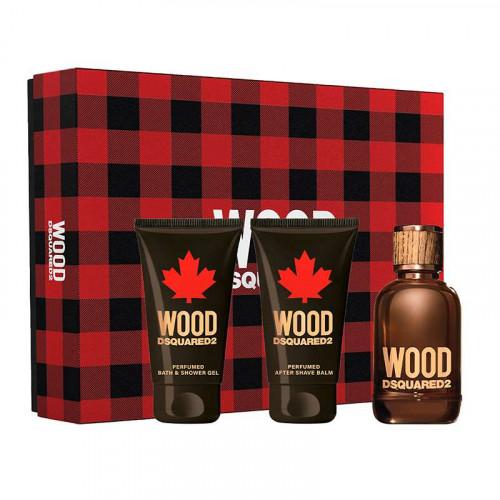 Dsquared² Wood pour Homme Set 50ml Eau de Toilette Spray + 50ml Showergel + 50ml Aftershave Balsem