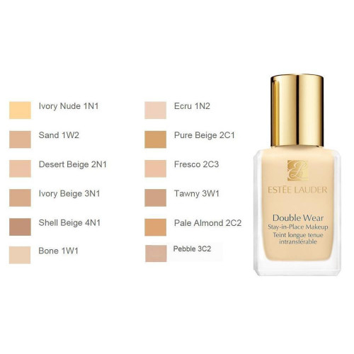 Estee Lauder Double Wear stay-in-place makeup foundation SPF10 3C2 Pebble 30ml