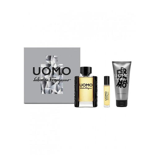 Salvatore Ferragamo Uomo Set  100ml eau de toilette spray + 10ml edt + 100ml Showergel