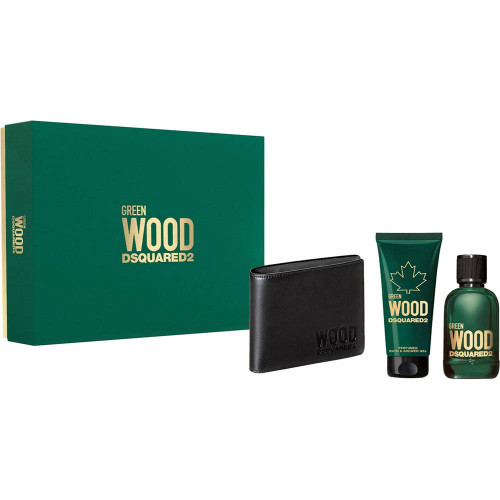 Dsquared² Green Wood set 100ml Eau de Toilette Spray + 100 ml Showergel + Wallet