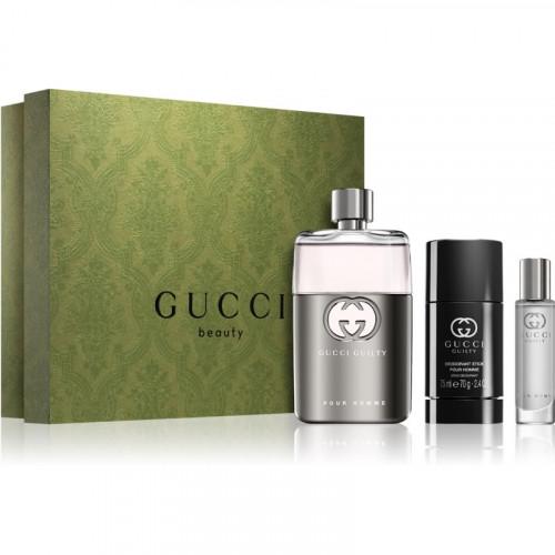 Gucci Guilty Pour Homme Set 90ml eau de toilette spray + 75ml Deodorant Stick + 15ml eau de toilette spray