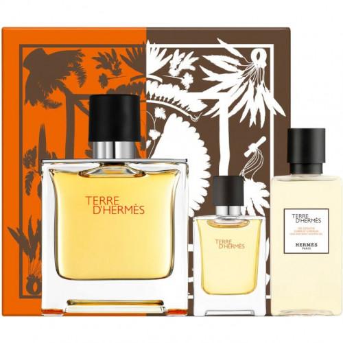 Hermès Terre d'Hermès Set 75ml parfum spray + 5ml edp miniatuur + 40ml Showergel