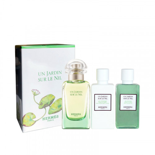 Hermes Un Jardin Sur le Nil Set 50ml eau de toilette spray + 40ml Showergel + 40ml Bodylotion