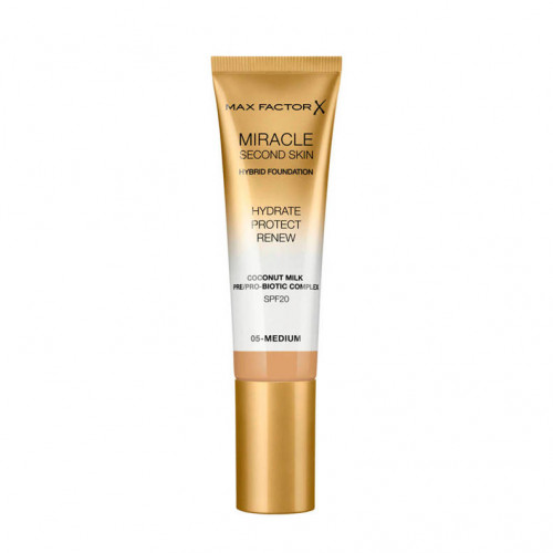 Max Factor Miracle Second Skin Hybrid Foundation SPF20 05 Medium 30ml