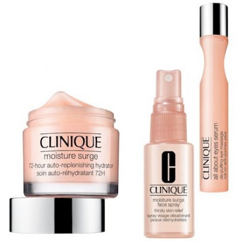 Clinique Moisture Surge Set (Moisture Surge 72-hours Auto-replenishing Hydrator 75ml, Moisture Surge Face Spray, All About Eyes Serum)