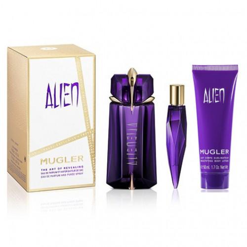 Thierry Mugler Alien Set 60ml eau de parfum spray Navulbaar+ 10ml Tasspray + 50ml Bodylotion