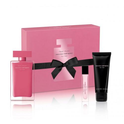 Narciso Rodriguez for Her Fleur Musc Set 100ml eau de parfum spray + 75ml Bodylotion + 10ml edp spray