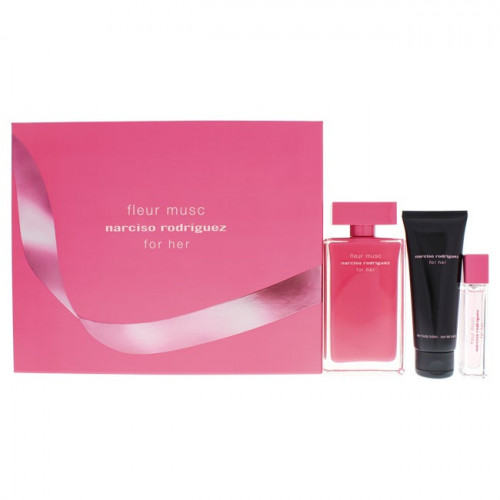 Narciso Rodriguez for Her Fleur Musc Set 100ml eau de parfum spray + 75ml Bodylotion + 10ml edp spray