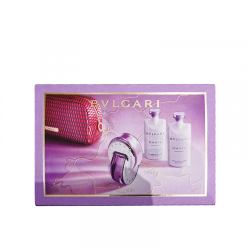 Bvlgari Omnia Amethyste Set 65ml eau de toilette spray + 75ml Bodylotion + 75ml Showergel + Toilettas