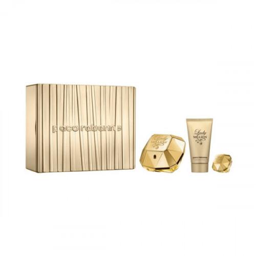 Paco Rabanne Lady Million Set 50ml eau de parfum spray + 75ml Bodylotion + 5ml edp miniatuur