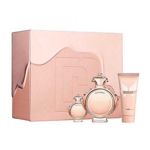 Paco Rabanne Olympéa Set 80ml eau de parfum spray + 6ml edp miniatuur + 100ml Bodylotion