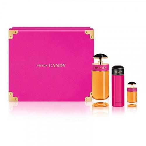 Prada Candy set 80ml eau de parfum spray + 10ml edp roll-on + 75ml Bodylotion