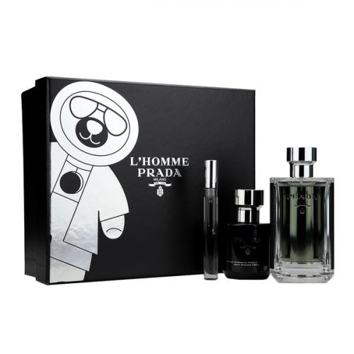 Prada L'Homme Set 100ml eau de toilette spray + 100ml Showergel + 10ml edt