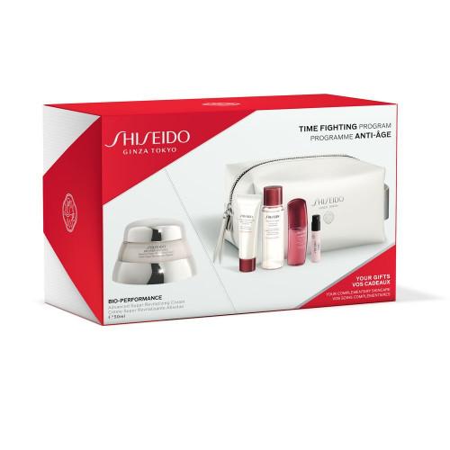 Shiseido Bio Performance Advanced Super Revitalizer Cream set 50ml Dagcrème + Clarifing Cleansing Foam 15ml + Ultimune Power Infusing Concentrate 10ml + Ginza eau de parfum 0,8ml + tasje