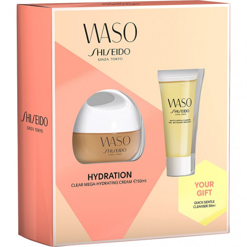 Shiseido Waso set Clear Mega-Hydrating Cream 50ml Gezichtscrème +  Gentle Cleanser 30ml + Beauty Sleeping Mask 1,5 ml