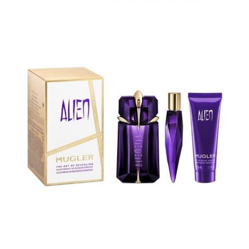 Thierry Mugler Alien Set 60ml eau de parfum spray Navulbaar+ 10ml Tasspray + 50ml Showergel