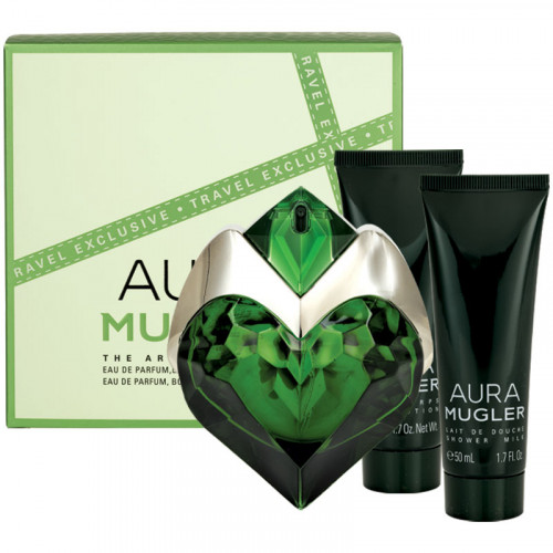 Thierry Mugler Aura Travel Set 50ml eau de parfum spray Navulbaar + 50ml Bodylotion + 50ml Showergel