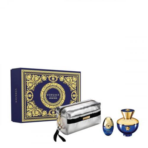 Versace Dylan Blue Pour Femme Set 100ml eau de parfum spray + 10ml edp mini + Zilveren Tas