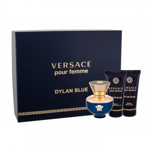 Versace Dylan Blue Pour Femme Set 50ml eau de parfum spray + 50ml Bodylotion + 50ml Showergel