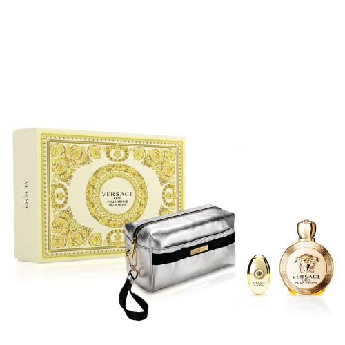 Versace Eros pour Femme Set 100ml eau de parfum spray +  10ml edp miniatuur + toilettas