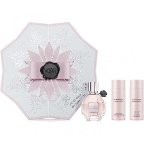 Viktor & Rolf Flowerbomb Set 50ml eau de parfum spray + 50ml Showergel + 50ml Bodylotion